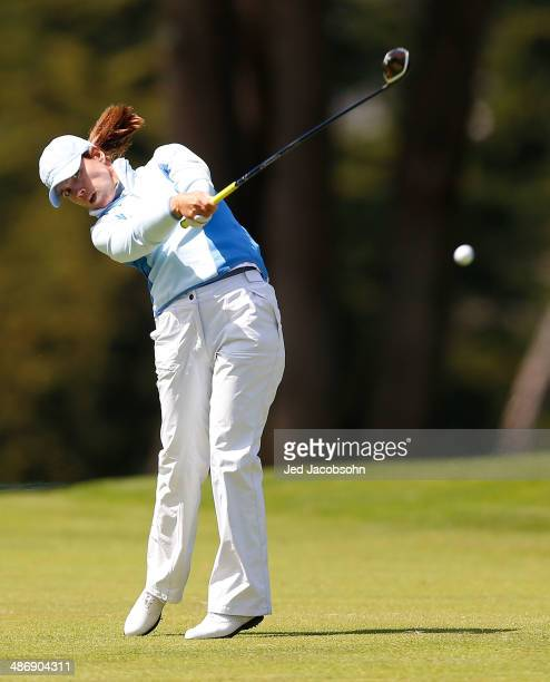 Karine Icher of France hits from the fairway on 6 during Round Three of the Swinging Skirts LPGA Classic at the Lake Merced Golf Club on April 26...
