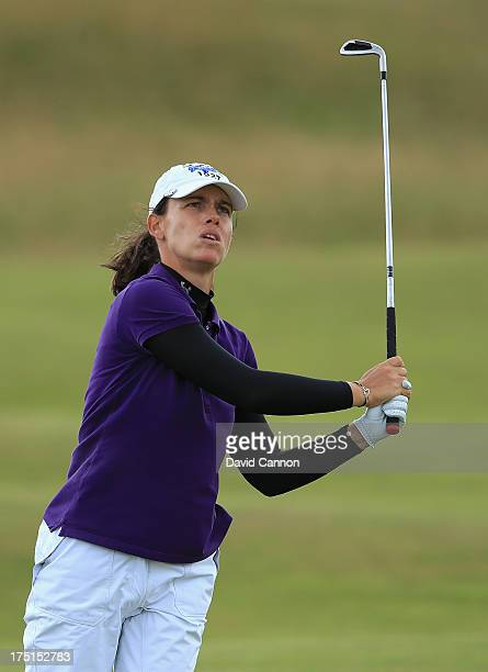Karine Icher of France hits her 2nd shot on the 4th hole during the first round of the Ricoh Women's British Open at the Old Course St Andrews on...