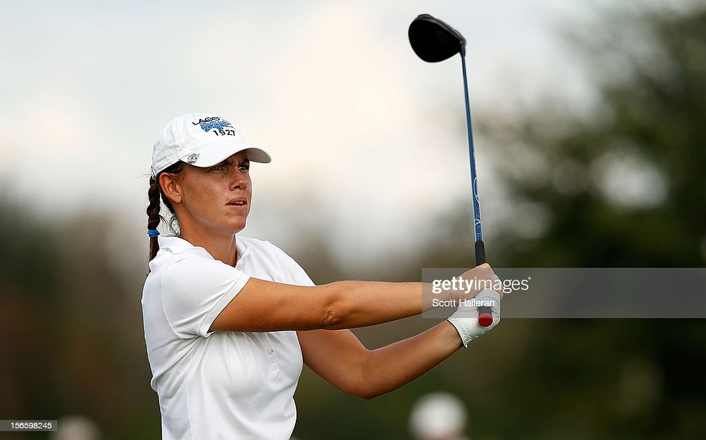 <a gi-track='captionPersonalityLinkClicked' href=/galleries/search?phrase=Karine+Icher&family=editorial&specificpeople=737458 ng-click='$event.stopPropagation()'>Karine Icher</a> of France hits her tee shot on the 14th hole during the third round of the CME Group Titleholders at the TwinEagles Club on November 17, 2012 in Naples, Florida.