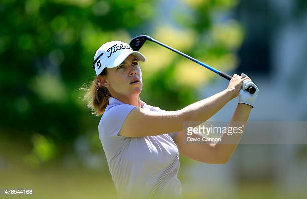 Karine Icher of France in action during her practice round as a preview for the 2015 KPMG Women's PGA Championship on the West Course at Westchester...