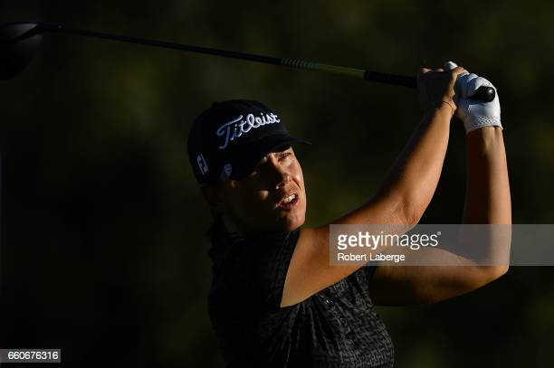 Karine Icher of France makes a tee shot on the second hole during round one of the ANA Inspiration on the Dinah Shore Tournament Course at Mission...