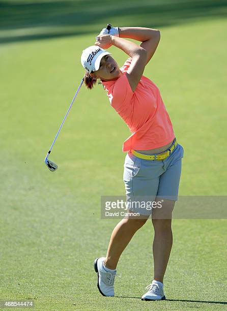 Karine Icher of France plays her second shot at the par 4 7th hole during the second round of the ANA Inspiration on the Dinah Shore Tournament...