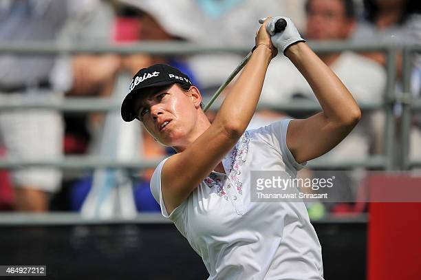 Karine Icher of France plays the shot during day four of the 2015 LPGA Thailand at Siam Country Club on March 1 2015 in Chon Buri Thailand