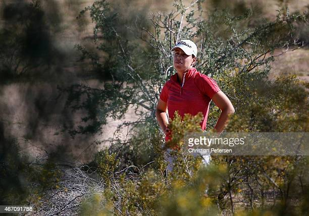 Karine Icher of France prepares to play a shot from the desert off the 16th hole during the second round of the LPGA Founders Cup at Wildfire Golf...