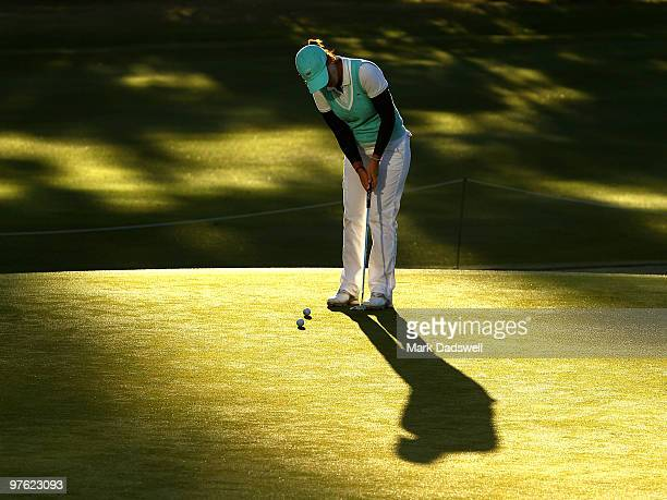 Karine Icher of France putts on the practice greens before the start of round one of the 2010 Women's Australian Open at The Commonwealth Golf Club...