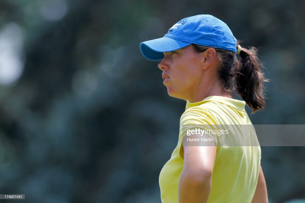 <a gi-track='captionPersonalityLinkClicked' href=/galleries/search?phrase=Karine+Icher&family=editorial&specificpeople=737458 ng-click='$event.stopPropagation()'>Karine Icher</a> of France stands on the green on the ninth hole during round two of the Marathon Classic presented by Owens Corning & O-I on July 19, 2013 in Sylvania, Ohio.