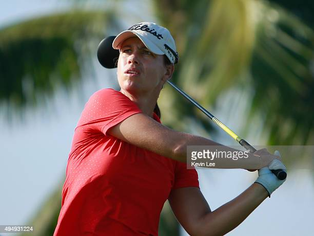 Karine Icher of France tee off on the 10th hole during round 2 on Day 5 of Blue Bay LPGA 2015 at Jian Lake Blue Bay golf course on October 30 2015 in...