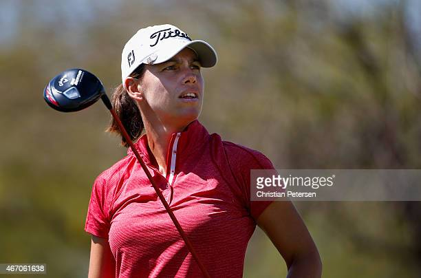 Karine Icher of France watches her tee shot on the 10th hole during the second round of the LPGA Founders Cup at Wildfire Golf Club on March 20 2015...