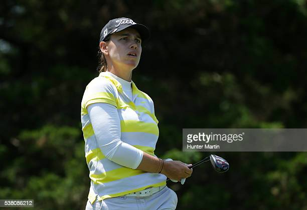 Karine Icher of France watches her tee shot on the eighth hole during the second round of the ShopRite LPGA Classic presented by Acer on the Bay...