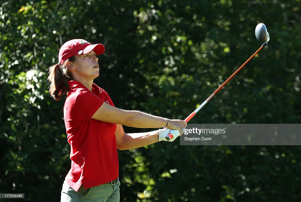 <a gi-track='captionPersonalityLinkClicked' href=/galleries/search?phrase=Karine+Icher&family=editorial&specificpeople=737458 ng-click='$event.stopPropagation()'>Karine Icher</a> of France watches her tee shot on the fifth hole during the CN Canadian Women's Open at Royal Mayfair Golf Club on August 22, 2013 in Edmonton, Alberta, Canada.