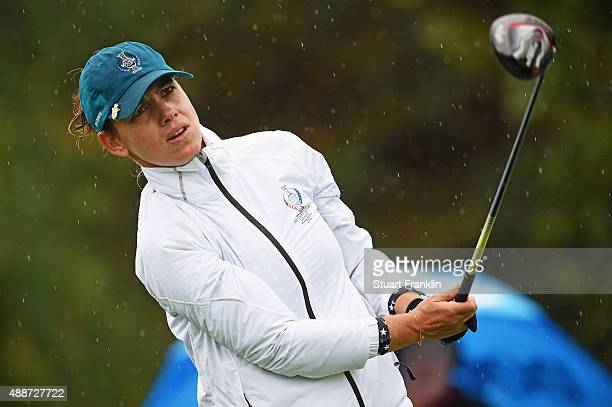 Karine Icher of Team Europe looks on during practice prior to the start of the Solheim Cup at St LeonRot Golf Club on September 17 2015 in St LeonRot...