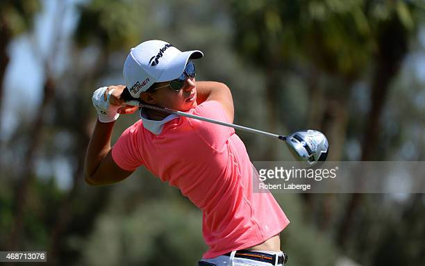Karine Isher of France makes a tee shot on the third hole during the final round of the ANA Inspiration on the Dinah Shore Tournament Course at...