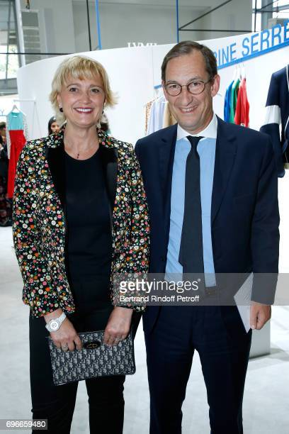 Karine JacquotBillet and Nicolas Bazire attend the 'Young Fashion Designer' LVMH Prize 2017 Edition at Fondation Louis Vuitton on June 16 2017 in...