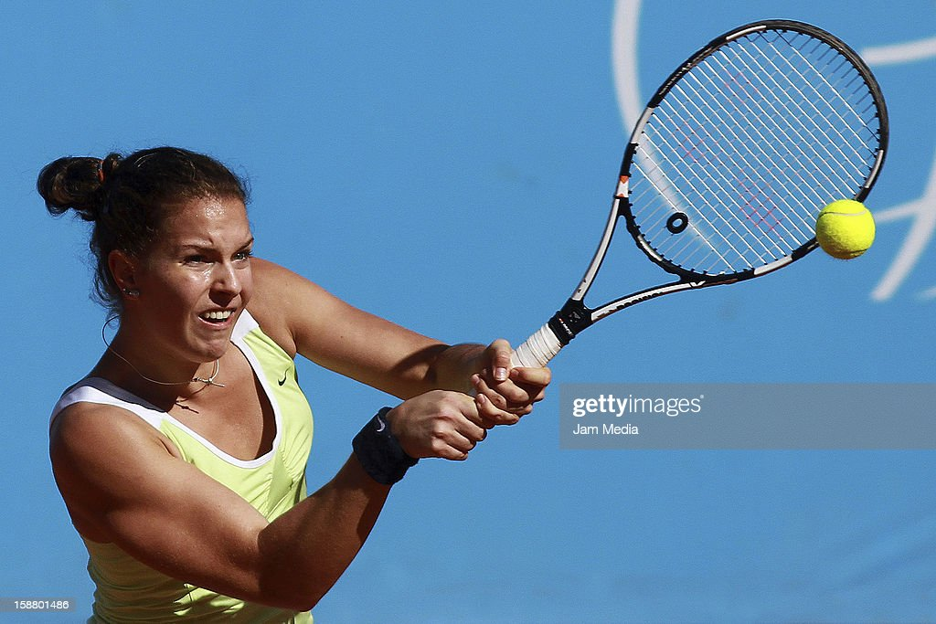 Karine Kennel of Suiza, in action during the Mexican Youth Tennis Open at Deportivo Chapultepec on December 28, 2012 in Mexico City, Mexico.