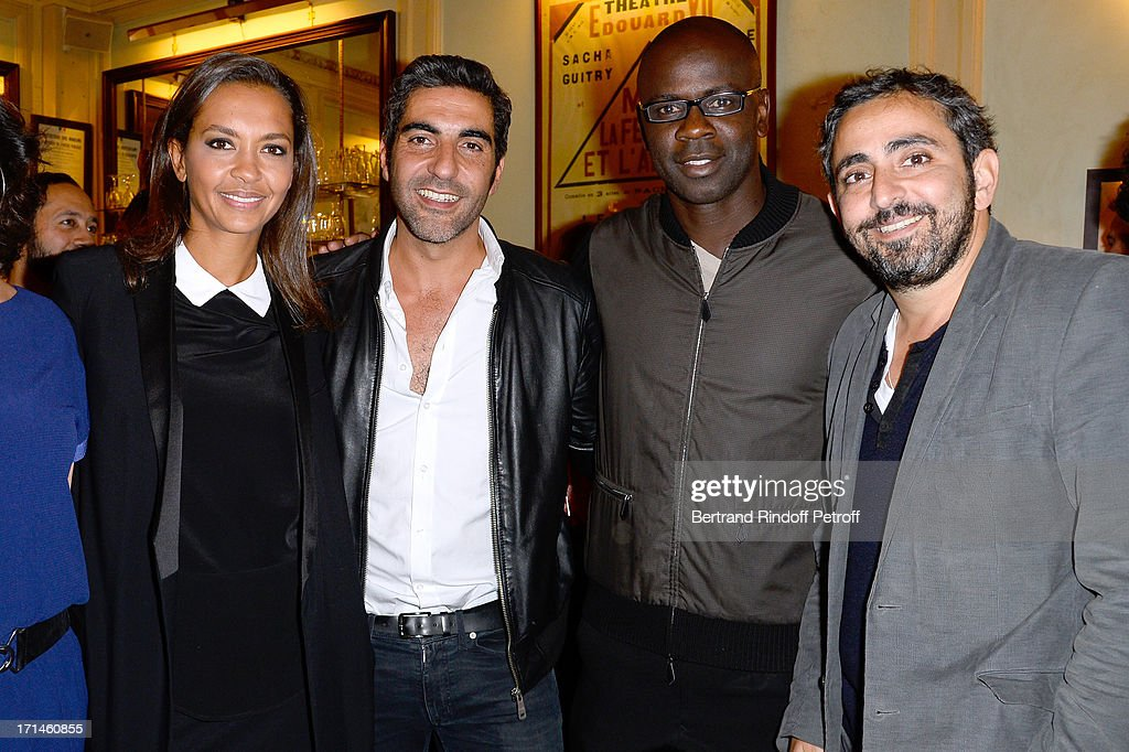 Karine Le Marchand, Ary Abittan, Lilian Thuram and Olivier Nakache attend the Ary Abittan performance at Theater Edouard VII benefiting 'Un Coeur Pour La Paix' on June 24, 2013 in Paris, France.