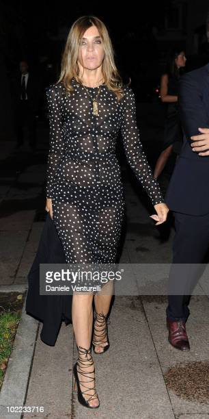Karine Roitfeld arrives at the Dolce Gabbana '20 Years of Menswear' dinner on June 19 2010 in Milan Italy