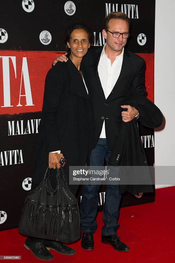 Karine Silla and Vincent Perez attend the 'Malavita' premiere at Europacorp Cinemas at Aeroville Shopping Center, in Roissy-en-France, France.