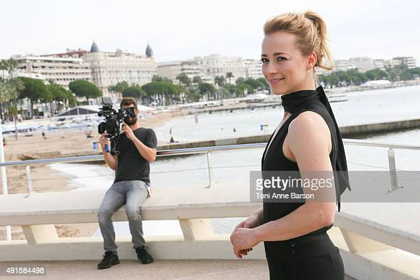 Karine Vanasse attends 'Blue Moon' photocall on La Croisette on October 6 2015 in Cannes France