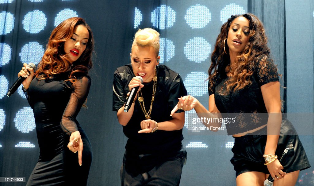 Karis Anderson, Courtney Rumbold and Alexandra Buggs of Stooshe performs at Key 103 Live at Manchester Arena on July 28, 2013 in Manchester, England.