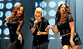 Karis Anderson Courtney Rumbold and Alexandra Buggs of Stooshe performs at Key 103 Live at Manchester Arena on July 28 2013 in Manchester England