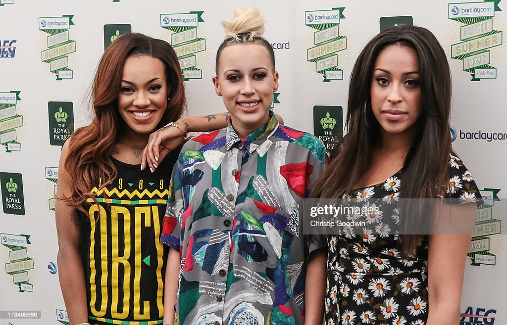 Karis Anderson, Courtney Rumbold and Alexandra Buggs of Stooshe pose backstage at British Summer Time Festival at Hyde Park on July 14, 2013 in London, England.
