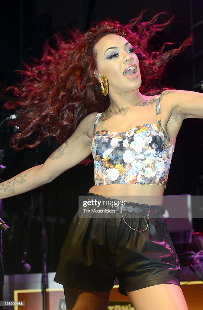 Karis Anderson of Stooshe performs at Perez Hilton's One Night in Austin Party at the Austin Music Hall on March 16, 2013 in Austin, Texas.