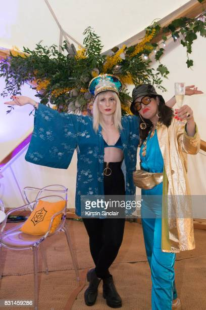 Karis DJ and Actress Karistocat with Laura Noir DJ Tasty Lopez at the Veuve Clicquot Champagne Bar Wilderness Festival on August 4 2017 in Cornbury...