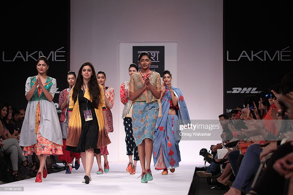 Karishma Shahani on the runway during day 2 of Lakme Fashion Week Winter/Festive 2013 at the Hotel Grand Hyatt on August 24, 2013 in Mumbai, India.