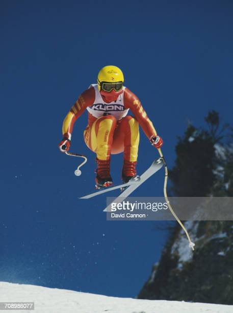 Karl Alpiger of Switzerland goes airborne during the International Ski Federation Men's downhill at the Alpine Skiing World Cup event on 17 January...