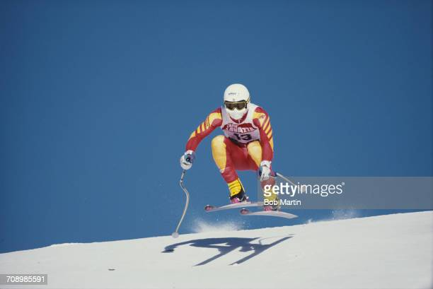 Karl Alpiger of Switzerland skiing in the Men's Downhill event at the International Ski Federation FIS Alpine Skiing World Cup on 19 January 1989 in...