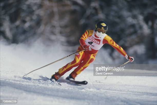 Karl Alpiger of Switzerland skiing in the Men's Downhill event at the International Ski Federation FIS Alpine Skiing World Cup event on 17 January...