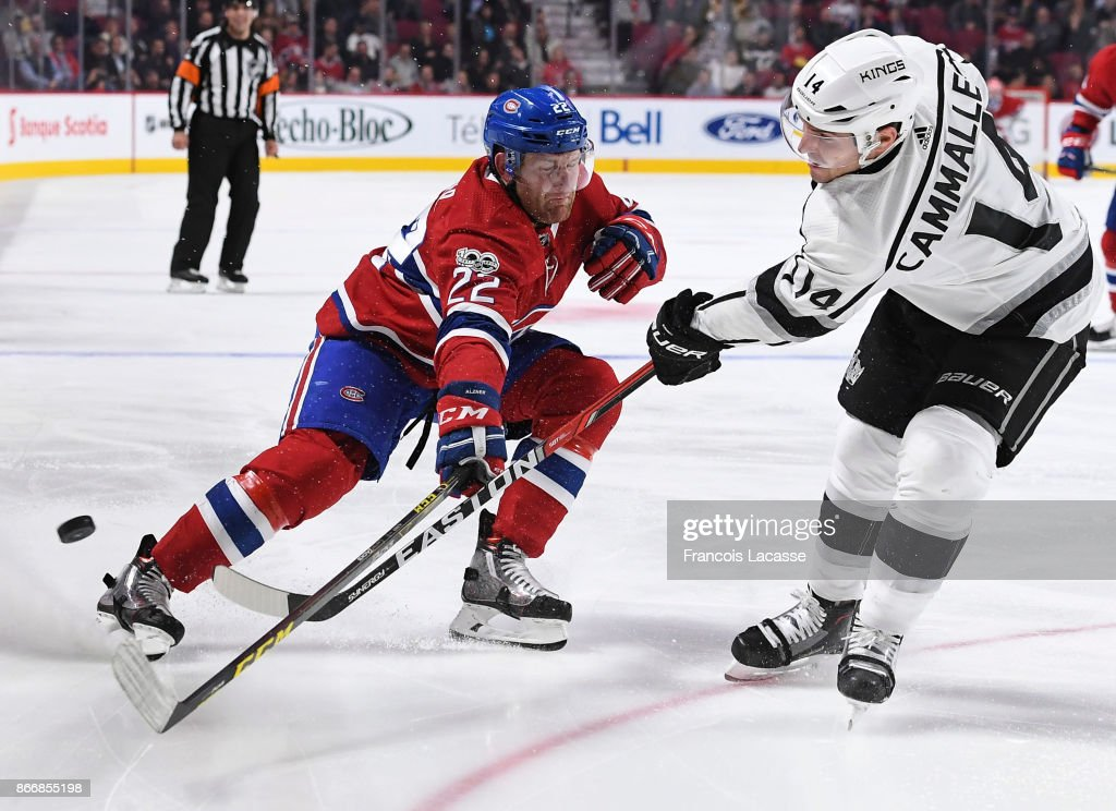 Karl Alzner #22 of the Montreal Canadiens blocks the pass from Michael Cammalleri #14 of the Los Angeles Kings in the NHL game at the Bell Centre on October 26, 2017 in Montreal, Quebec, Canada.
