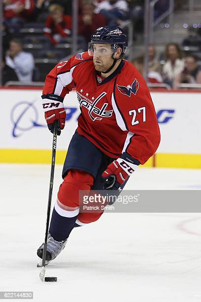 Karl Alzner of the Washington Capitals in action against the San Jose Sharks at Verizon Center on November 8 2016 in Washington DC