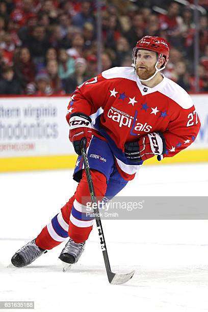 Karl Alzner of the Washington Capitals skates against the Chicago Blackhawks during the second period at Verizon Center on January 13 2017 in...
