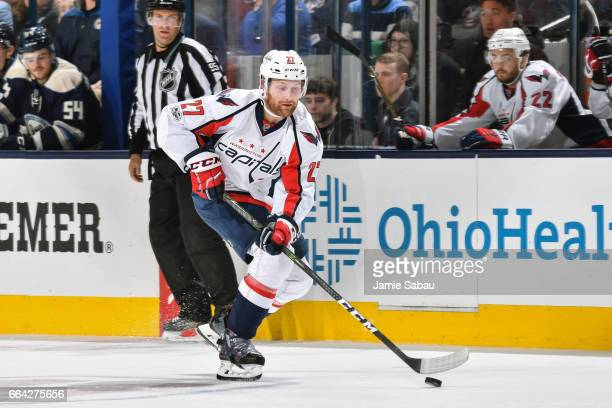 Karl Alzner of the Washington Capitals skates against the Columbus Blue Jackets on April 2 2017 at Nationwide Arena in Columbus Ohio