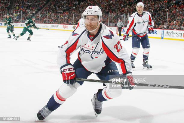 Karl Alzner of the Washington Capitals skates against the Minnesota Wild during the game on March 28 2017 at the Xcel Energy Center in St Paul...