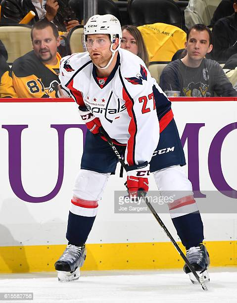 Karl Alzner of the Washington Capitals skates against the Pittsburgh Penguins at PPG Paints Arena on October 13 2016 in Pittsburgh Pennsylvania