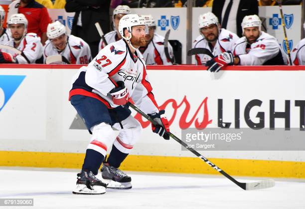 Karl Alzner of the Washington Capitals skates against the Pittsburgh Penguins in Game Four of the Eastern Conference Second Round during the 2017 NHL...