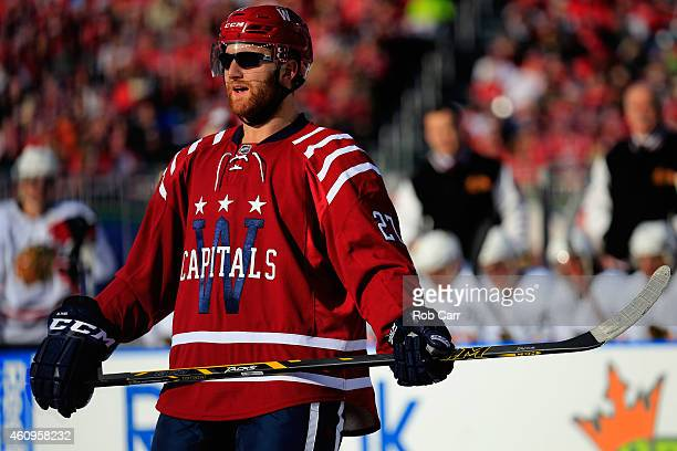 Karl Alzner of the Washington Capitals wears sunglasses during the 2015 NHL Winter Classic against the Chicago Blackhawks at Nationals Park on...