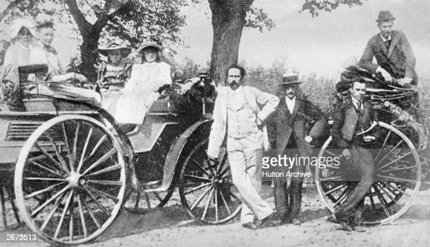 Karl Benz on a trip with his family with one of his first cars which was built in 1893 and powered by a single cylinder 3 hp engine His friend...