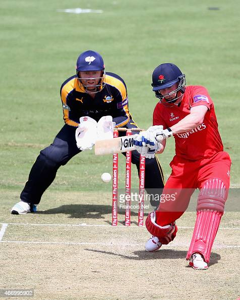 Karl Brown of Lancashire bats during the Emirates Airline T20 Cup match between Lancashire and Yorkshire at the Sevens Stadium on March 20 2015 in...