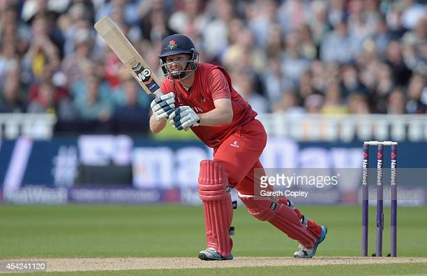 Karl Brown of Lancashire bats during the Semi Final Natwest T20 Blast match between Hampshire and Lancashire Lightning at Edgbaston on August 23 2014...