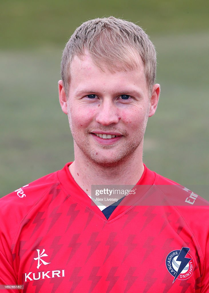 Karl Brown of Lancashire CCC wears the T20 kit during a pre-season photocall at Old Trafford on April 2, 2013 in Manchester, England.