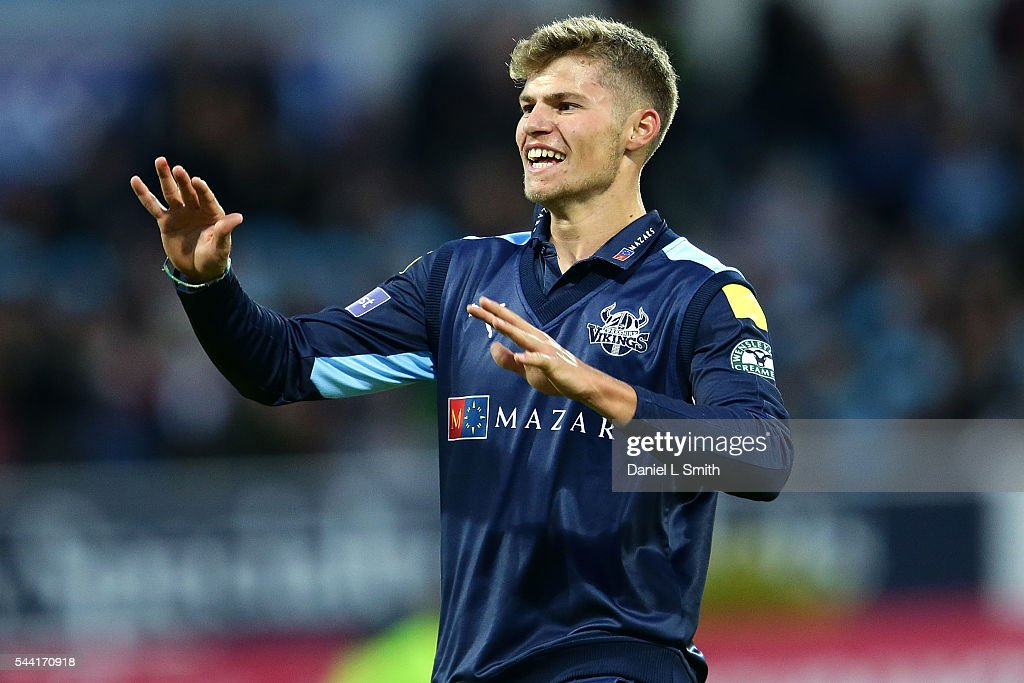 Karl Carver of Yorkshire Vikings celebrates the dismissal of Liam Livingstone of Lancashire Lightning during the NatWest T20 Blast match between Yorkshire Vikings and Lancashire Lightning at Headingley on July 1, 2016 in Leeds, England.
