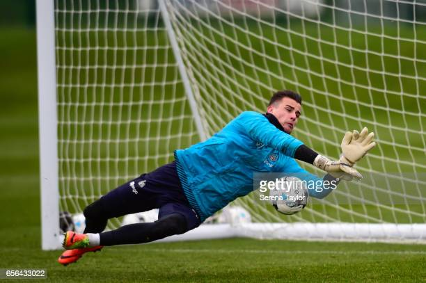 Karl Darlow dives for the ball during the Newcastle United Training Session at The Newcastle United Training Centre on March 22 2017 in Newcastle...