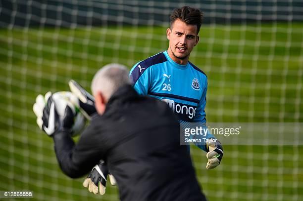 Karl Darlow kicks the ball back to Newcastle Unitedâs Goalkeeping Coach Simon Smith during the Newcastle United Training session at The Newcastle...