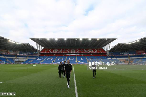 Karl Darlow of Newcastle United heads for the changing room after inspecting the pitch prior to kick off of the Sky Bet Championship match between...