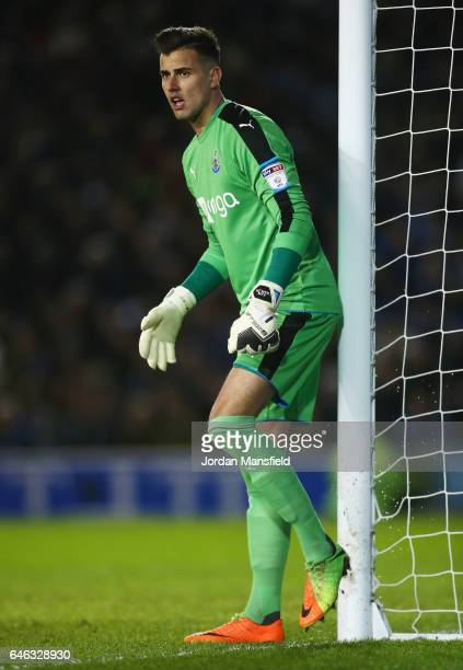 Karl Darlow of Newcastle United looks on during the Sky Bet Championship match between Brighton Hove Albion and Newcastle United at Amex Stadium on...