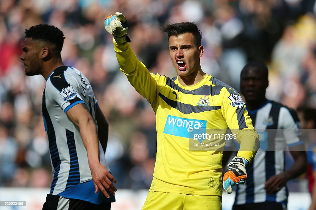 Karl Darlow of Newcastle United reacts after saving a penalty during the Barclays Premier League match between Newcastle United and Crystal Palace at St James' Park on April 30, 2016 in Newcastle upon Tyne, England.