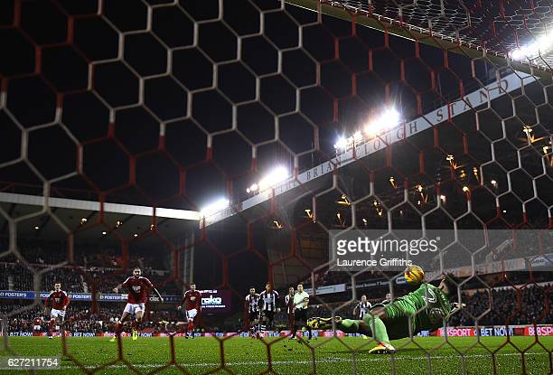 Karl Darlow of Newcastle United saves a penalty from Henri Lansbury of Nottingham Forest during the Sky Bet Championship match between Nottingham...